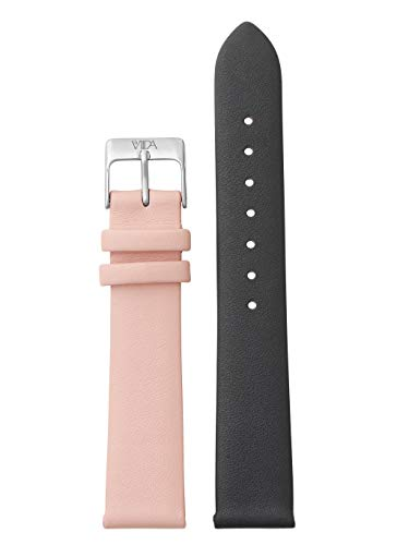 laVIIDA Uhrband LB-SVI2007S Ersatzband Uhrband Leder 18 mm Dunkelgrau-Rosa-Silber