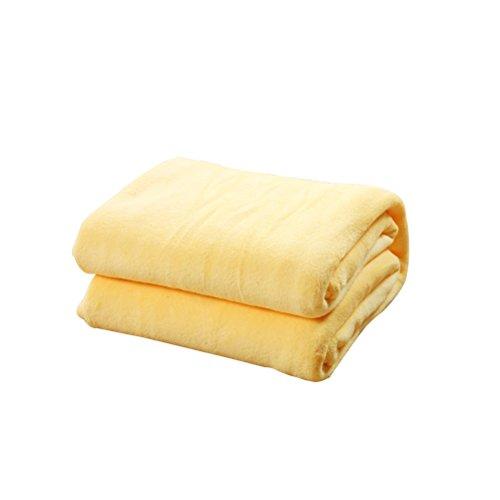 HomeMiYN Flanell Fleece Bettdecken Super Soft Werfen Sofa Luft Decke warme thermische Schlafzimmer Abdeckung für Trail Travel Couch Camping (Krippe Gelb Bettwäsche Grau)