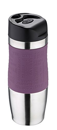 Bergner Thermobecher 400 ml violett Edelstahl mit Silikonhülle Thermo To Go Deckel abnehmbar