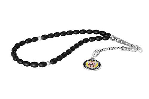 Gök-Türk Gebetskette - Tesbih 33 Perlen Galatasaray GS für Fußballfans - Schwarz