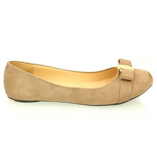 Femmes Dames Soir Casual Confort Ballerinas Plat Pompes Escarpins Sandale Chaussures Taille (Noir, Marron, Taupe) Taupe