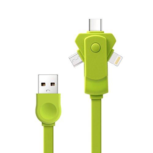 USB-Kabel DREI-In-One-Rotation Multi-Ladegerät Stecker 2A Fast Multi Power Adapter Für iPhone X 8 Ipad Android Mac,1Pack - Ipad Draht Usb-ladegerät Von Apple