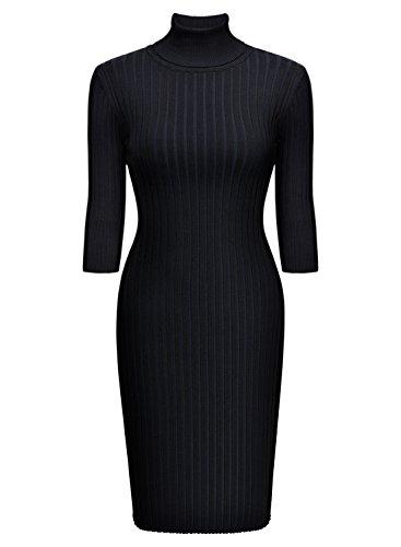 Miusol Wollkleid Strickkleid hoher Kragen figurbetontes Kleid - 5
