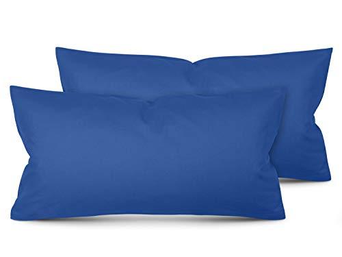 Unifarbene Kissenbezüge im Doppelpack - in 8 Farben und 3 Größen - moderne Wohndekoration in dezentem Design, ca. 40 x 80 cm, blau