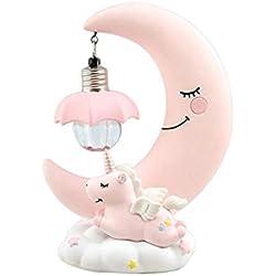 Golden.Y Veilleuse de LED, Lampe de crèche de bébé de Dessin animé de résine de Licorne de Lune pour Les Enfants Cadeaux Jouets Fille Enfant.
