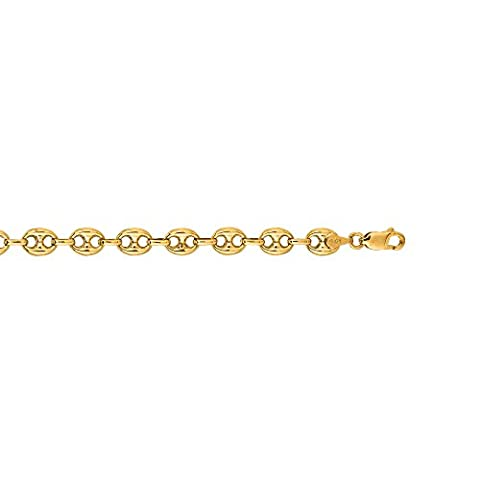 14K Yellow Gold 11mm wide Shiny Puffed Mariner Link Chain 22
