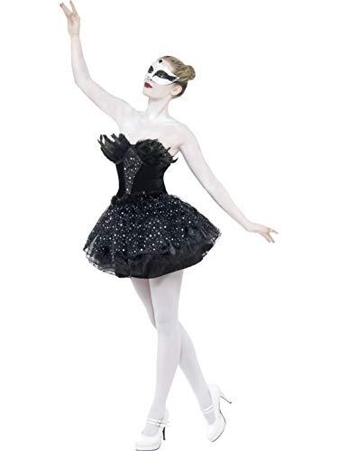 Halloweenia - Damen Frauen Kostüm Baltett-Tänzerin Schwan Schwanensee, Swan Dancer Black, perfekt für Halloween Karneval und Fasching, S, Schwarz (Black Swan Kostüm Für Erwachsene)
