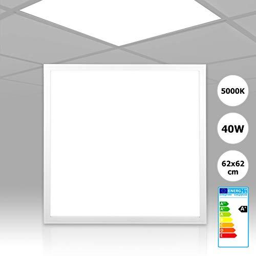 [5 Stück] Xtend LED Rasterleuchte 62x62 neutralweiß 5000K 40W nicht dimmbar PMMA ultraslim LED Panel 620x620 Serie PLe2.1 E-serie Led