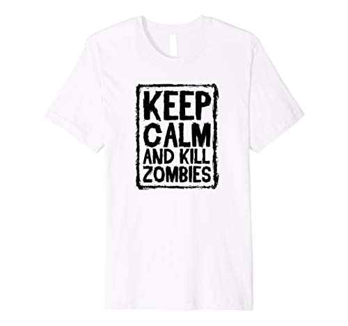 Keep Calm and Kill Zombies Halloween T-Shirt Herren Damen Kinder