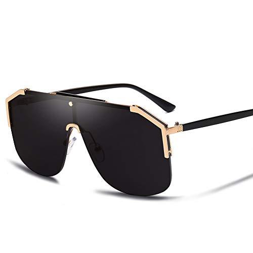 WJFDSGYG Sonnenbrille Männer Entworfen Sonnenbrille Frauen Übergroße Semi-Randlose Brille Mode Uv400 Objektiv