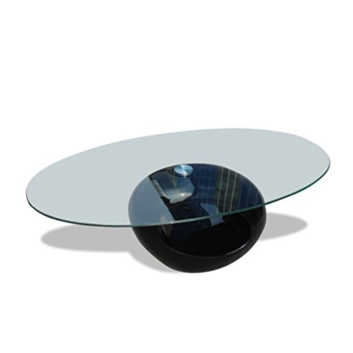 vidaXL Table basse de salon Buble verre trempé fibre de verre noire brillante