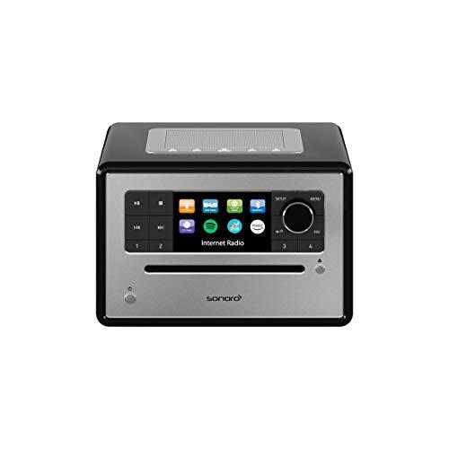 sonoro Elite Radio CD-Player (UKW/FM/DAB+/WLAN, AUX, Bluetooth, Spotify, Amazon Music, Deezer) Schwarz - Internetradio mit CD 9100 Bluetooth