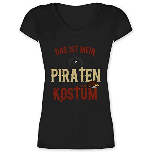 Karneval & Fasching - Das ist Mein Piraten Kostüm - XL - Schwarz - XO1525 - Damen T-Shirt mit V-Ausschnitt