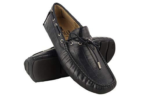 Zerimar scarpe da barca in pelle per uomo | scarpe da barca uomo estive | scarpe da uomo nautiche | mocassini uomo | colore: blu marino | taglia: 46