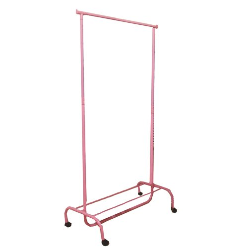 JVL - Perchero ajustable con ruedas (43 x 83 x 108 cm), color rosa