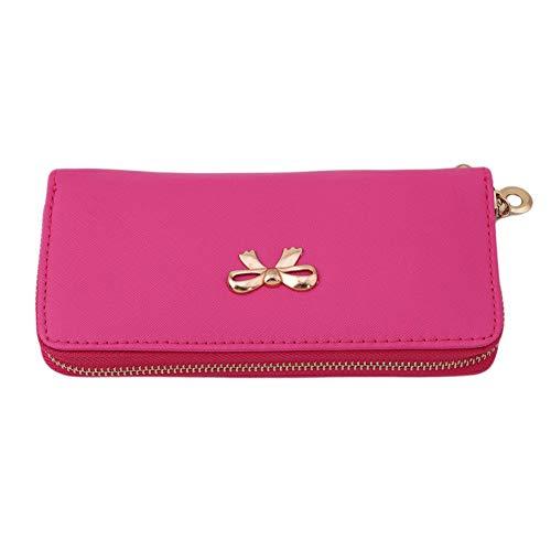 Fliyeong Premium Quality Women 's Elegante PU-Leder Bowknot Lange Stil Brieftasche Lady Kartenhalter Clutch Geldbörse Handtasche Hot Pink Lady Hot Pink Leder