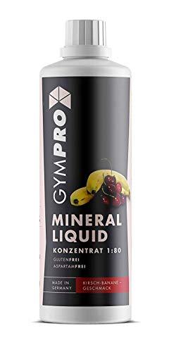 GymPro Mineraldrink Mineralgetränk Low Carb Vital Drink 1:80, 1000ml Sirup Konzentrat in Flasche mit L-Carnitin, Magnesium und Vitamin für Fitness (Kirsch-Banane)