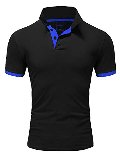 Amaci&Sons Herren Poloshirt Basic Kontrast Kragen Kurzarm Polohemd T-Shirt 5104 Schwarz/Blau L