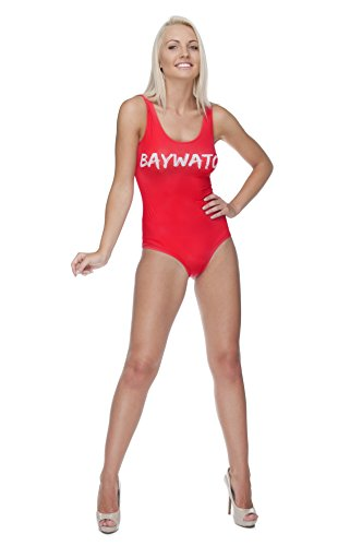 Become Pamela Anderson with this Women's Baywatch Swimming Costume - Sizes 8 10 12