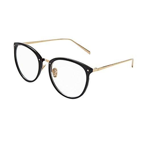 AiSi Damen vintage Retro Brille Eyewear One Size, Ohne Stärke, schwarz und Gold, Sand Black,