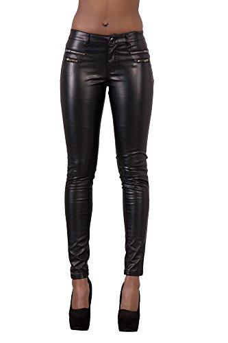 Lusty Chic Hochwertige Damenhosen, Glatte Damen Hose, Frauen Kunstlederhose, PU Lederhose Jean (36, Schwarz)