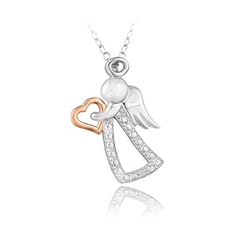 Collier ange & coeur incrustation diamant deux tons Argent sterling ton Or rose
