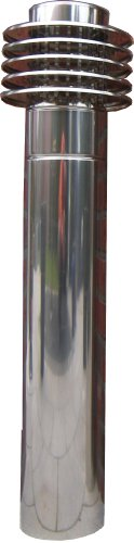 Lufteinlass L1 DN 200, Höhe ca. 1190mm, Edelstahl, für Wohnungslüftung Erdwärmetauscher Außenluft, Lamellenhaube mit Rohr, Luftansaugturm, Außenlufteinlass