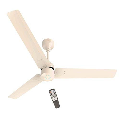 Fans Aluminium Renesa Energy Saving 5 Star Rated Ceiling Fan with Remote Control and BLDC Motor, 1200mm (Ivory) -