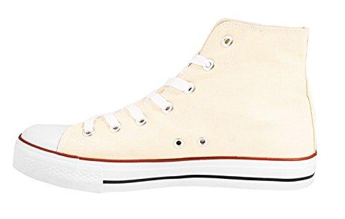 Elara Unisex Sneaker | Sportschuhe für Herren Damen | High Top Turnschuh Textil Schuhe 36-47 Beige High