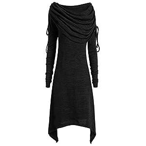 VRTUR Damen Elegant Sweatshirt Kleid Langarm Plissee Kragen Lose Pullover Strickkleid Sweater Oberteile Oversized Tops,S-XXXXXL