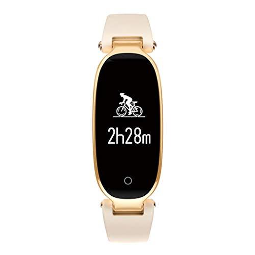 ZCY Smartwatch Puls Blutdruck Monitor Schritt Verfolgung Armbanduhr Information Erinnerung Multifunktion Wasserdicht Sport Intelligente Armband (Farbe : Gold) - Blutdruck Puls Monitor