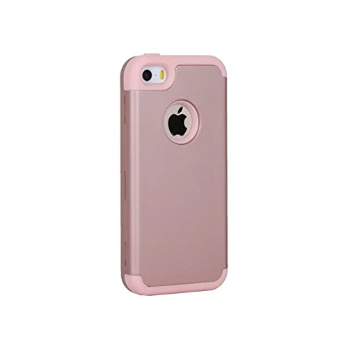 iPhone 5 5S 5C Hülle,iPhone SE Hülle,Lantier Slim Matt Matt Finish Design Shockproof Hybrid Dual Layer Defender Schutz Fall Deckung für Apple iPhone 5/5S/5C/SE Rose Gold+Rosa Rose Gold+Pink