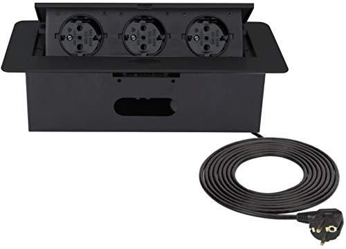 Versenkbare Einbau Steckdosenleiste 3-fach - Black-Edition - Aluminium Spritzguss - mit Softöffnung - anschlussfertig mit 3m Schukokabel
