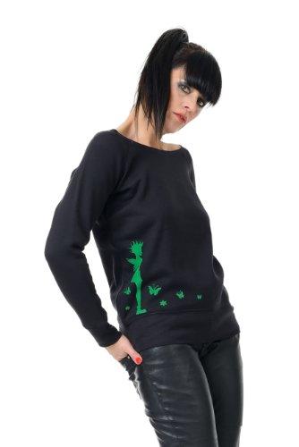 Damen Pullover u-boot-ausschnitt / Sweatshirt Punk Style schwarz grau blau weiß Punk Elfe Schwarz Grün