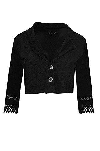 Be Jealous femmes crêpe coupe laser CARDIGAN Manche femmes col chemise BOUTONS jabot Blazer Manteau UK taille 8-22 Noir