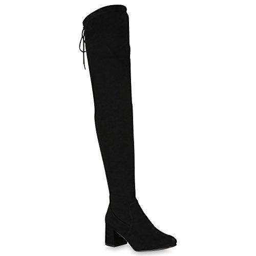Bootsparadise Stivali Da Donna Overknees Look In Pelle Scamosciata Con Tacco Largo Scarpe Stivali Lunghi Stivali Levigatura Flandell Nero Levigatura