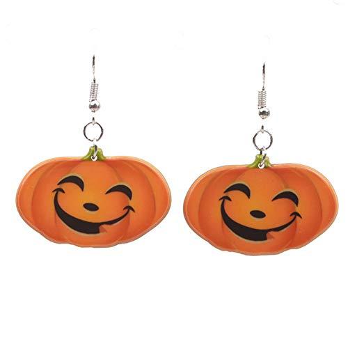 Leisial Halloween Ohrringe Kürbis Ohrringe Halloween Kostüm Ohrringe Damen Acryl Ohrringe Halloween Kürbis Dekoration 4.6 * 3.6CM Kürbis 1