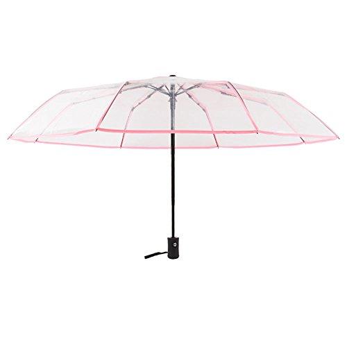 Daaimi Tragbar klein kompakt Licht Regenschirm Schützen vor Sturm Wind Regen für Transparenter Automatischer Regenschirm Damen Herren Outdoor Camping Reise Alltag, pink