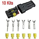 Distinct® 10 Kits 3 Pin forma sellada cable eléctrico impermeable Auto conector