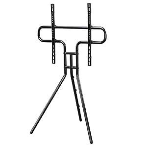 Hama TV Ständer im Staffelei Design (stabiler Fernsehständer für 37-75 Zoll, höhenverstellbarer TV Stand als Tripod, kompaktes TV Stativ, VESA kompatibler Bodenständer) schwarz