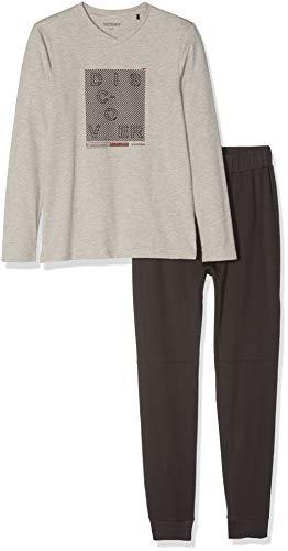 Schiesser Jungen Zweiteiliger Schlafanzug Anzug lang, Braun (Braungrau-Mel. 304), 176 (Herstellergröße: L)