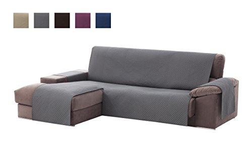 Textilhome - Copridivano Salvadivano Chaise Longe Adele - Color Grey -BRACCIOLO Sinistra - Protezione per divani Imbottiti - Dimencione 200cm -(Visto di Fronte).