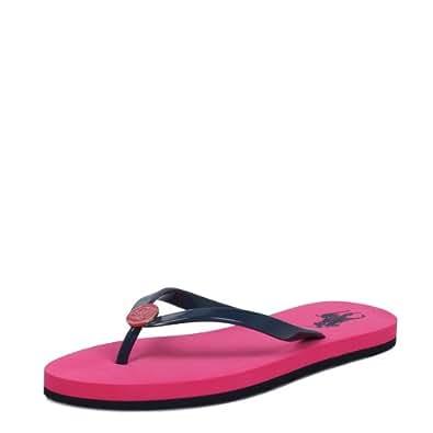 Ralph Lauren Womens Moscato Flat Pink Navy Flip Flops-UK 6.5