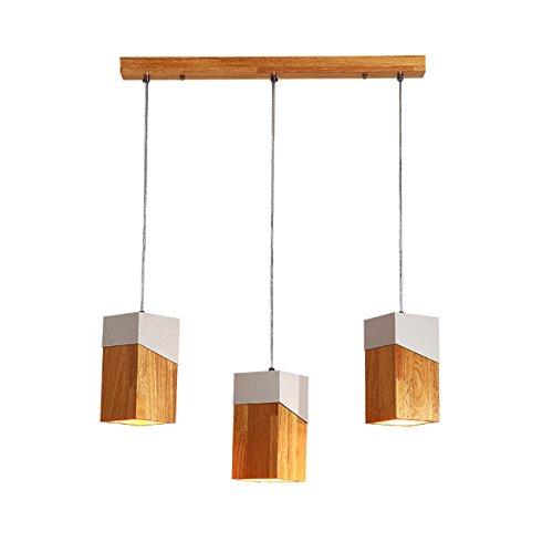 GRFH Lámpara cuadrada de madera creativa del diseñador de la personalidad del café Tres cabeza y sola cabeza Combinación Lámpara pendiente de madera sólida E27 110V-220V , a