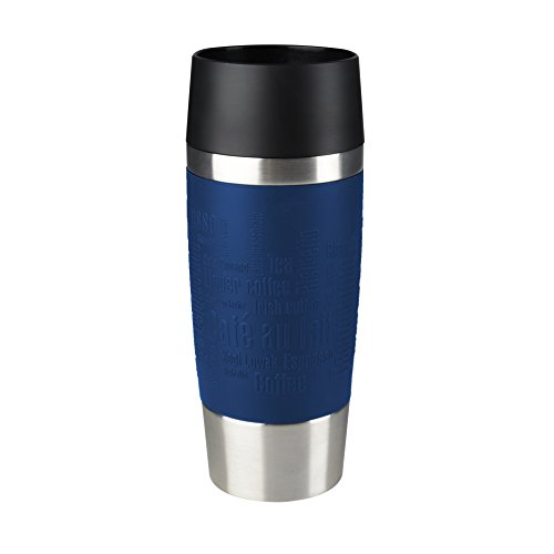 Emsa Isolierbecher Mobil genießen 360 ml Quick Press Verschluss Travel Mug -Blau (Manschette Blau)