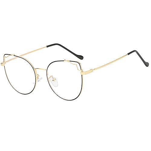 Dorical Mehrfarbig Brille Für Herren und Damen/Männer Frauen Brillenfassung Aviator Vintage Brille/Mode Unregelmäßig klar Linse Brille Jahrgang Geek Nerd Retro Stil Metal Frame Promo
