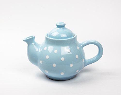 UNGARNIKAT Keramik Kaffeekanne Pastell mit handbemalten Weißen Punkten 0,75 L (Hellblau)