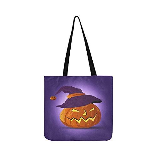 (Vektor Nacht Halloween Kürbis Hexen Hatdark Leinwand Tote Handtasche Umhängetasche Crossbody Taschen Geldbörsen Für Männer Und Frauen Einkaufstasche)