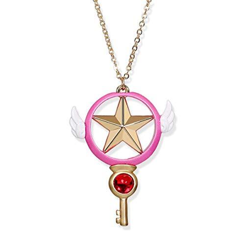 Baoleiju Acrilico Ruby Cardcaptor Sakura Stella mit Flügeln Halskette mit Anhänger mit Schmuckkästchen, Cardcaptor Sakura Halskette für Mädchen, Mädchen, Mädchen (Stella Ruby)