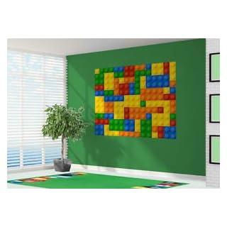 3D Building Blocks Toy Bricks Wallpaper Wall Mural - XL